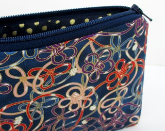 Small Zipper Pouch, Luxe Loops and Bows on Navy Blue, Gold Metallic, Japanese Fabric Coin Purse