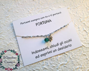 Luck bracelet in steel, phrase, emerald crystal