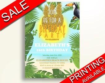 Tropical Birthday Invitation Tropical Birthday Party Invitation Tropical Birthday Party Tropical Invitation Boy Girl pineapple beach DN50T
