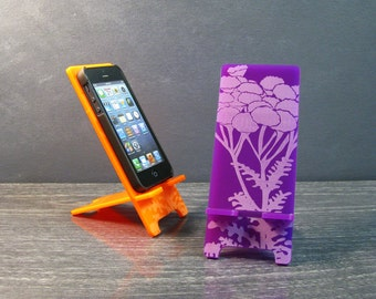 Cell Phone Stand Purple Flower Docking Station - 5 Sizes - 9 Colors - iPhone 6, 6 Plus, iPhone 5, iPhone 4, Samsung Galaxy S4 S5, Universal