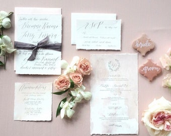 Custom Hand Lettered in Calligraphy Wedding Invitation Suite Hand Torn Cotton Paper