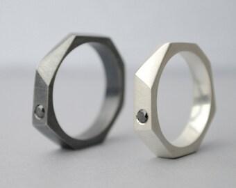 Geometric wedding rings, black diamond, Diamond Engagement Rings, oxidized engagement ring, mens rings