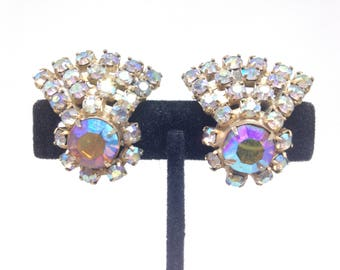 Vintage Estate High End AB Rhinestone Gorgeous Clip Earrings Christmas Present - Holiday Gift