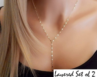 Lariat Y Necklace • Layered Lariat Choker • Prom Necklace • Double Chain Lariat • Chain Drop • Gift for Her • Gift for Girlfriend