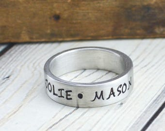 Personalized Ring for Women - Mens Ring - Custom Ring for Men - Hand Stamped Name Ring - Husband Gift for Him - Pewter Ring