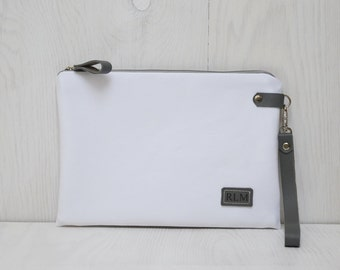 White Bridal Personalized Clutch, Monogrammed pouch, Unisex Zipper Toiletry Bag, Leather Engraved Label, Customization Bag, Unique Gift