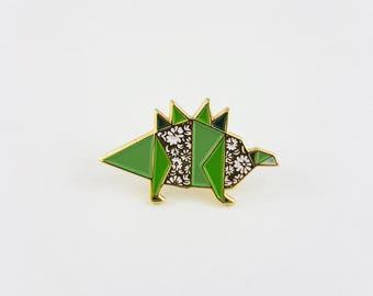 Origami Dinosaur Soft Enamel Pin,Enamel Pin,Origami Jewelry,Dinosaur Gift,Dino Lover,Origami,Lapel Pin,OOAK,Stegosaurus Pin,Dinosaur Jewelry