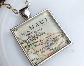 Maui Necklace, Map Jewelry Location Necklace, Vintage Map Souvenir, Aloha Jewelry,  Anniversary Gift for Wedding Honeymoon Destination