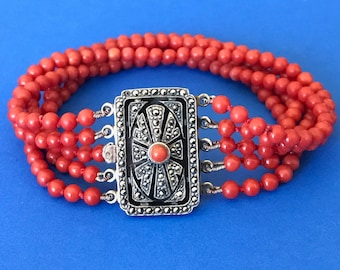 10% OFF - Vintage adriatic coral 5-strand bracelet with elaborate silver clasp