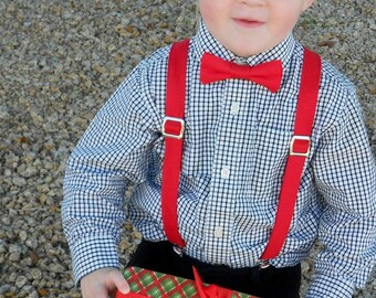 Red Bowtie and Suspender Set - Infant, Toddler, Boy-       2 weeks before shipping