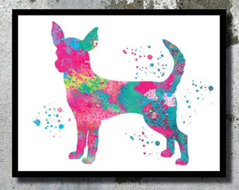 Pink Chihuahua Watercolor Print Dog Art Home Decor Chihuahua painting Chihuahua Illustration Dog Nursery Decor Boy Girl Room Dog Wall Art