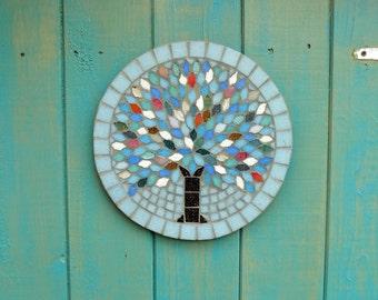 Winter Jewel Tree Mosaic Garden Yard Hanging Plaque Ornament Decoration
