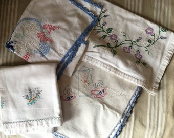 Lot Linens vintage As/Is table cloth, dresser scarves table runners 1940's stains holes for crafts