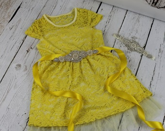 Yellow Flower Girl Dress LIMITED Rustic Flower Girl Dress Yellow Jr Bridesmaid Dress Rhinestone Sash Yellow Headband Lace Dress LIMITED