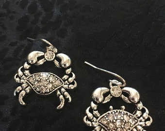 Sterling Silver With Crystals Crab Earrings