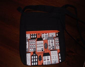 Black, Orange, White 2 Zip Hipster Shoulder Bag