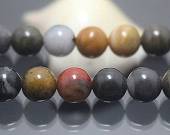 4-10mm Natural Fossilized Wood Round Beads, Brown Gemstone, 15 inch full strand ( 4mm 6 mm 8mm 10mm )