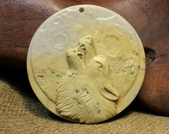 Sale #EarthDay ~ Wolf Howling at the Full Moon carved in Large Round Picture Jasper