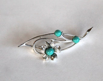 Vintage 1950s/1960s Silver Tone Flower Pin/Brooch with Teal Accents! Signed!