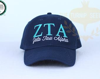 Zeta Tau Alpha Sorority Baseball Cap - Custom Color Hat and Embroidery.