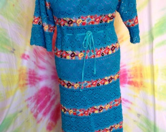 Vintage Blue Lace Maxi Dress