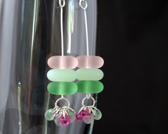 Beach Earrings- Sea Glass Earrings- Gift for Beach Lover - TropicalJewelry - Pink, White and Green - Silver plated wire and ear wires
