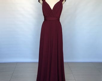 Cap Sleeves Burgundy Spandex Long Convertible Bridesmaid Dress