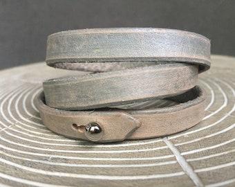 Metallic silver distressed wrap bracelet