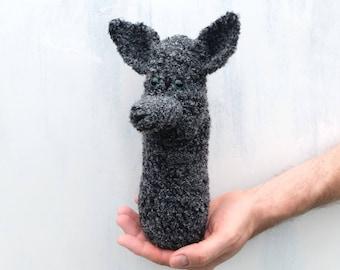 Wolf bottle cozy Baby bottle sleeve For kids Crochet cozy Water bottle cover Animal shaped cozy Grey black wolf Crochet dog For animal lover