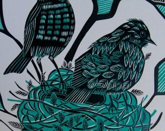Fledgling, Linocut Print, Original Print, Two Blackbirds, Bird Print, Nest in a tree, Turquoise and Black, Farewell
