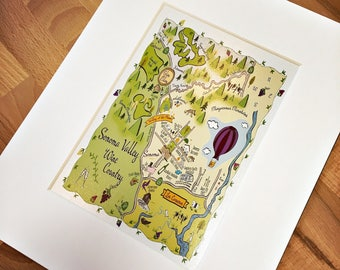 Sonoma Valley Map Art Print