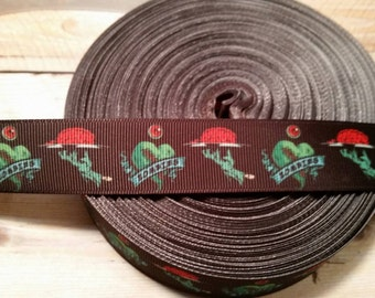 Brains Grosgrain Ribbon, horror ribbon, zombie ribbon, brains ribbon, i love zombies ribbon