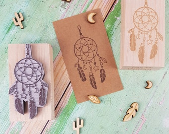 Dreamcatcher Rubber Stamp - Dream Catcher Stamper - Native Stamp - American Indian - Wild West Theme  - Cherokee stamp - Feather Beads