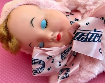 Vintage Plush Doll Wind Up Musical Sleeping Baby Doll Rubber Faced