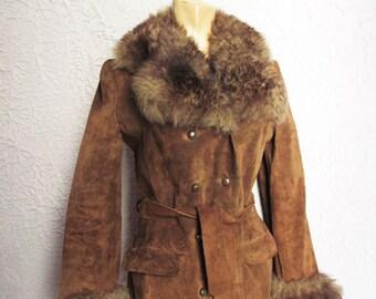 70's Vintage  Suede Sheepskin Hippie  Coat sm/med