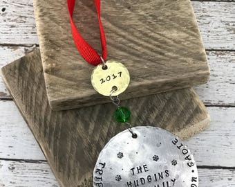 Personalized Ornament 2017 - Handstamped with Names, pine trees