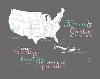 Personalized Gifts, Wedding, Engagement, Honeymoon Map, Caribbean, Destination, Airplane, Anniversary Gift, Husband and Wife Couple | WF155