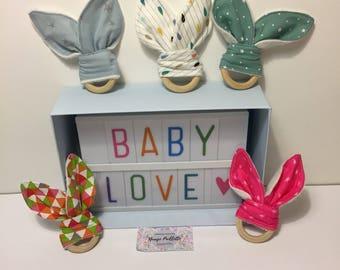Baby teething ring bunny ears