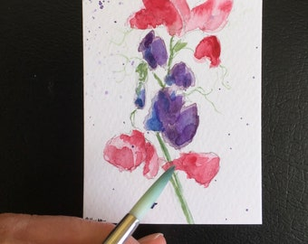 Flowers ORIGINAL Miniature Watercolour Floral Sweetpeas painting flower art ACEO Watercolor  For him For her Home Decor Wall Art Gift Idea