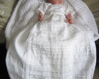 Irish Linen and Lace Christening Gown: The Waterford