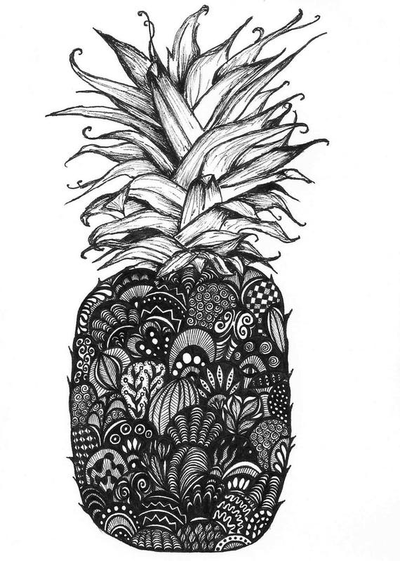 Pineapple print zentangle pineapple drawing art prints - Ananas dessin ...