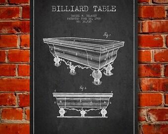 1900 Billiard Table Patent, Canvas Print,  Wall Art, Home Decor, Gift Idea