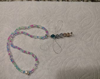 dragonfly rear view mirror charm and sun catcher with crystal beads.