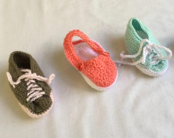 """Named """"Wonderers"""" 3 pairs baby booties shoes handmade knitting New Born"""