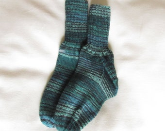 Hand Knitted Teal Striped Washable Wool Socks