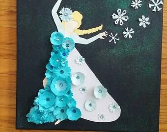 Princess silhouette art, ice princess art, snow magic, snowflake, nursery art, fairy tale art, fantasy art, kids room art, paper flower art,