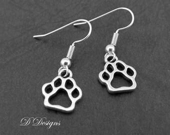 Silver Paw Earrings Sterling Silver Pet Lovers Gift