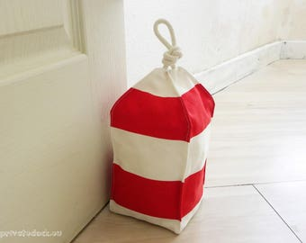 Door Stopper Buoy Coastal Decor, Lobster Buoy, Nautical Style, Nautical Strips, White Red Buoy, Kids Room, Bedroom or Bathroom Decoration