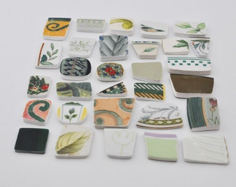Broken China Mosaic Tiles - Green - Assortment - Cabochon Collection - Set of 30