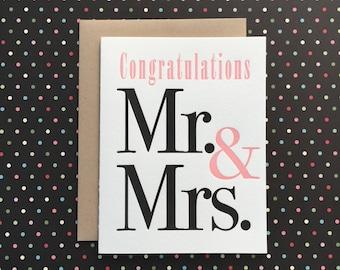 Mr. & Mrs. Wedding Letterpress Card